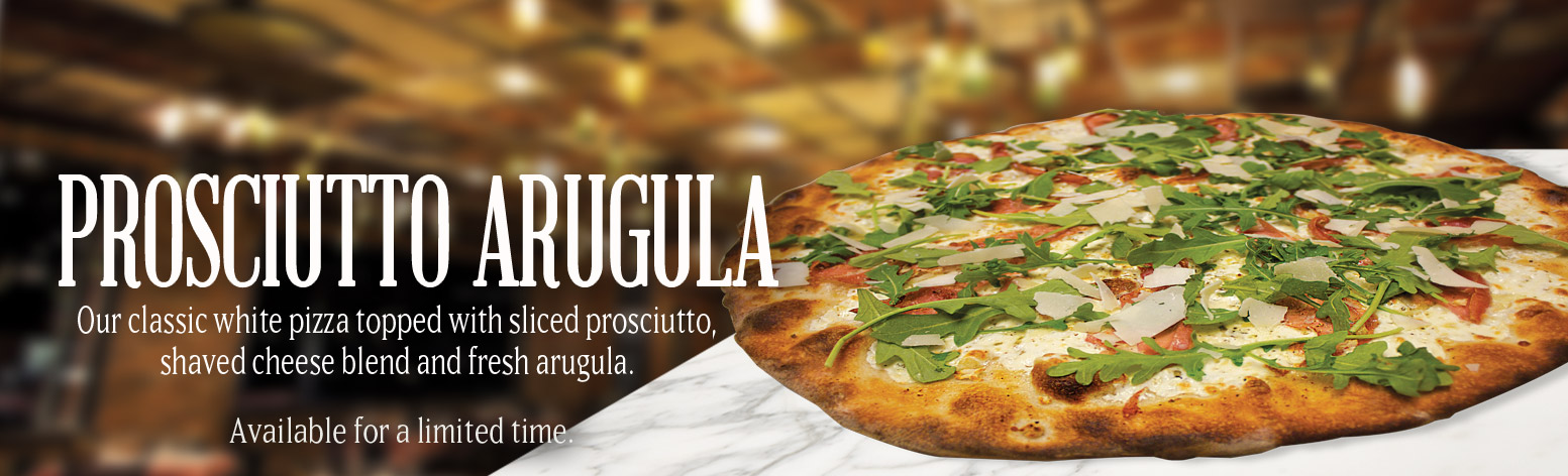 Our classic white pizza topped with sliced prosciutto, shaved cheese blend and fresh arugula.