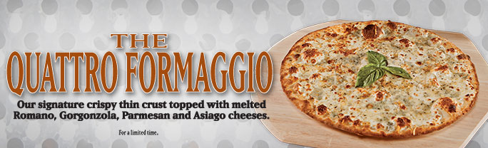 Our signature crispy thin crust topped with melted Romano, Gorgonzola, Parmesan and Asiago cheeses.v